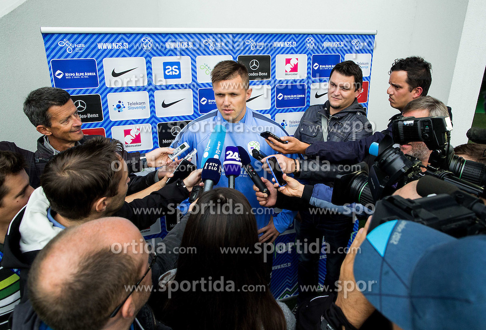 Josip Ilicic with journalists during practice session of Slovenian National Football team two days before Euro 2016 Qualifying game between Slovenia and Lithuania, on October 7, 2015 in SRC Stozice, Ljubljana Slovenia. Photo by Vid Ponikvar / Sportida