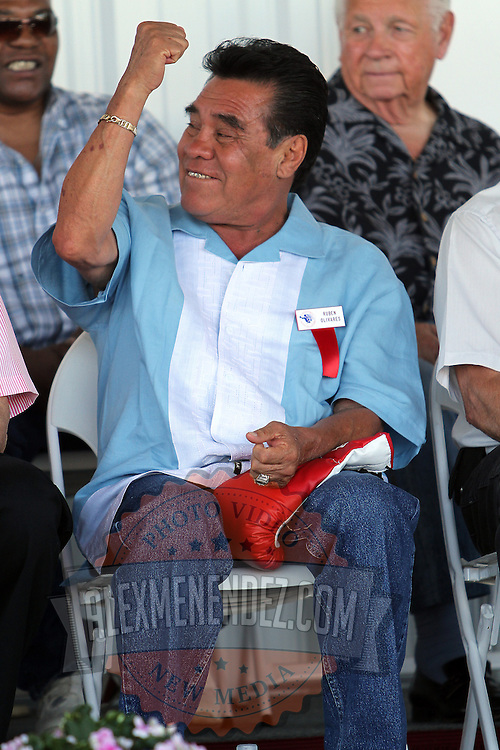 Bantamweight Champion Ruben Oliveras during the 23rd Annual induction weekend opening ceremony at the International Boxing Hall of Fame on Thursday, June 7, 2012 in Canastota, NY. (AP Photo/Alex Menendez)