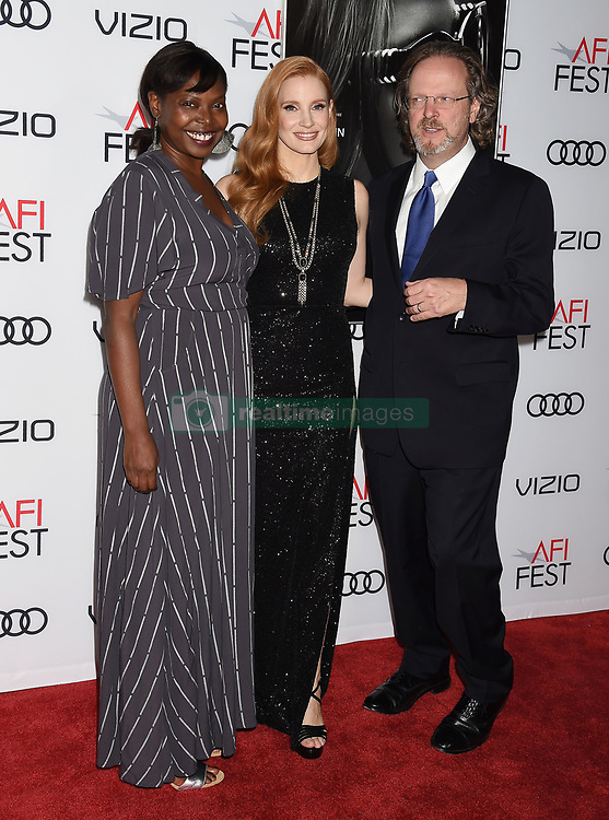 HOLLYWOOD, CA - NOVEMBER 16: Actress attends AFI FEST 2017 Closing Night Gala - Screening of 'Molly's Game' at TCL Chinese Theatre on November 16, 2017 in Hollywood, California. 16 Nov 2017 Pictured: HOLLYWOOD, CA - NOVEMBER 16: (L-R) Festival Director for AFI FEST Jacqueline Lyanga, actress Jessica Chastain and director/screenwriter Aaron Sorkin attend AFI FEST 2017 Closing Night Gala - Screening of 'Molly's Game' at TCL Chinese Theatre on November 16, 2017 in Hollywood, California. Photo credit: Jeffrey Mayer / MEGA TheMegaAgency.com +1 888 505 6342