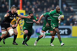 Topsy Ojo of London Irish goes on the attack - Photo mandatory by-line: Patrick Khachfe/JMP - Mobile: 07966 386802 03/01/2015 - SPORT - RUGBY UNION - London - Allianz Park - Saracens v London Irish - Aviva Premiership