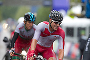 Mcc0055084 . Daily Telegraph<br /> <br /> Wale's Geraint Thomas and England's scott Thwaites during the Men's Road Race on Day 11 of the 2014 Commonwealth Games in Glasgow .<br /> <br /> Glasgow 3 August 2014