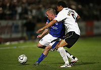 Photo: Rich Eaton.<br /> <br /> Hereford United v Leicester City. Carling Cup. 19/09/2006 Leicester goalscorer Iain Hume tries to get past Hereford captain Yamika Mkandawire.