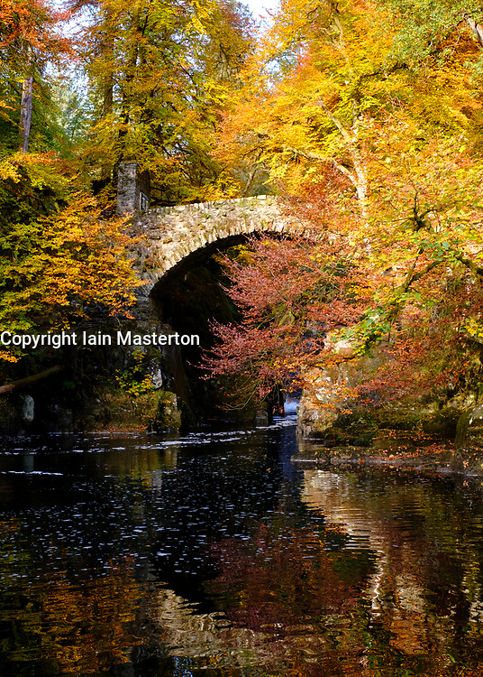 Spectacular autumn colours in the trees at The Hermitage a famous beauty spot near Dunkeld in Perthshire. Pictured is Hermitage Bridge spanning the River Braan.