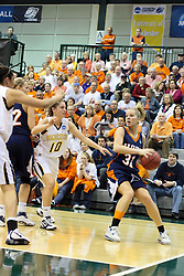 19 March 2010: Lauren Geers is approached by Michelle Ketcham. The Flying Dutch of Hope College defeat the Yellowjackets of the University of Rochester in the semi-final round of the Division 3 Women's Basketball Championship by a score of 86-75 at the Shirk Center at Illinois Wesleyan in Bloomington Illinois.