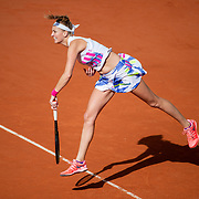 PARIS, FRANCE October 07. Petra Kvitova of the Czech Republic in action against Laura Siegemund of Germany in the Quarter Finals of the singles competition on Court Philippe-Chatrier during the French Open Tennis Tournament at Roland Garros on October 7th 2020 in Paris, France. (Photo by Tim Clayton/Corbis via Getty Images)