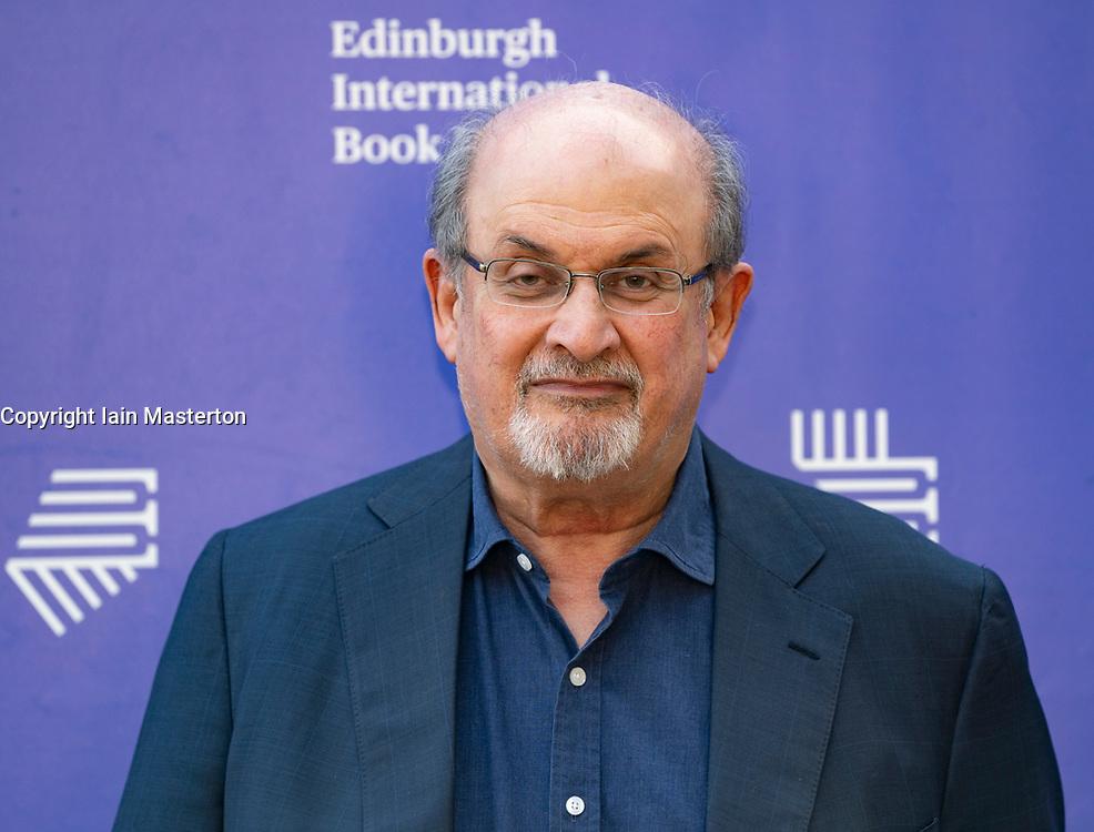 Edinburgh, Scotland, UK. 26 August 2019. Salman Rushdie. Rushdie's new book Quichotte is a retelling of Don Quixote set in modern day USA. Iain Masterton/Alamy Live News.