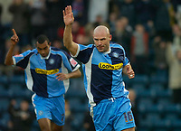Photo: Alan Crowhurst.<br />Wycombe Wanderers v Rochdale. Coca Cola League 2.<br />10/12/2005. <br />Tommy Mooney celebrates the opener for Wycombe.