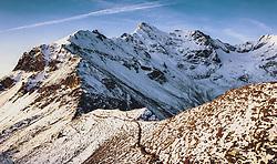 THEMENBILD - frisch verschneite Berge nach Sonnenaufgang. Die Grossglockner Hochalpenstrasse verbindet die beiden Bundeslaender Salzburg und Kaernten und ist als Erlebnisstrasse vorrangig von touristischer Bedeutung, aufgenommen am 11. September 2019 in Fusch a. d. Grossglocknerstrasse, Österreich // fresh snow-covered mountains after sunrise. The Grossglockner High Alpine Road connects the two provinces of Salzburg and Carinthia and is as an adventure road priority of tourist interest, Fusch a. d. Grossglocknerstrasse, Austria on 2019/09/11. EXPA Pictures © 2019, PhotoCredit: EXPA/ JFK