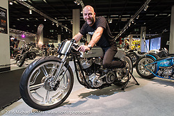 "Fred Bertrand of Krugger Motorcycles in Belgium aboard his latest speed inspired creation with it 103"" S&S motor for the AMD World Championship of Custom Bike Building show in the custom themed Hall 10 at the Intermot Motorcycle Trade Fair. Cologne, Germany. Tuesday October 4, 2016. Photography ©2016 Michael Lichter."