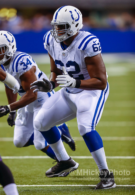 INDIANAPOLIS, IN - AUGUST 20: Le'Raven Clark #62 of the Indianapolis Colts is seen during the game against the Baltimore Ravens at Lucas Oil Stadium on August 20, 2016 in Indianapolis, Indiana.  (Photo by Michael Hickey/Getty Images) *** Local Caption *** Le'Raven Clark