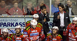 05.04.2011, Stadthalle, Klagenfurt, AUT, EBEL, FINALE, EC KAC vs EC RED BULL SALZBURG, im Bild Enttäuschung pur auf der KAC Bank, sitzend: Paul Schellander, (EC KAC, #15), Thomas Hundertpfund, (EC KAC, #27), Dieter Kalt, (EC KAC, #74), Stefan Geier, (EC KAC, #19), Johannes Reichel, (EC KAC, #14), stehend: Emanuel Viveiros, (EC KAC, Head Coach) Reinhard Sussitz // during the EBEL Icehockey Final, EC KAC vs EC RED BULL SALZBURG at the Stadthalle, Klagenfurt, 05/03/2011, EXPA Pictures © 2011, PhotoCredit: EXPA/ J. Feichter
