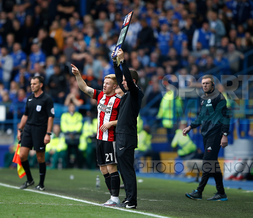 Mark Duffy of Sheffield Utd waits to come on during the Championship match at the Hillsborough Stadium, Sheffield. Picture date 24th September 2017. Picture credit should read: Simon Bellis/Sportimage