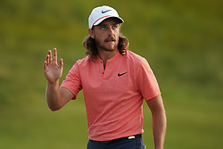 June 16, 2018 - Southampton, NY, USA - Tommy Fleetwood waves to the crowd after finsihing the third round of the 2018 U.S. Open at Shinnecock Hills Country Club in Southampton, N.Y., on Saturday, June 16, 2018. (Credit Image: © Brian Ciancio/TNS via ZUMA Wire)