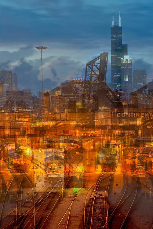 Chicago, the Chicago rail yards, Roosevelt Road bridge, skyline, photographic digital abstract image. Geometrispective. Hard work, in progress.