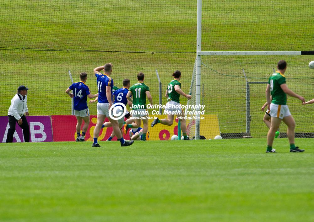 04-07-21. Meath v Longford - Leinster SFC Quarter-Final at Pairc Tailteann, Navan.<br /> Shane McEntee (Hidden) scoring Meath's first goal.<br /> Photo: John Quirke / www.quirke.ie<br /> ©John Quirke Photography, 16 Proudstown Road, Navan. Co. Meath. (info@quirke.ie / 046-9028461 / 087-2579454).