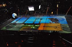 07.10.2011,  O2 World, Hamburg, GER, DEL, Hamburg Freezers vs Eisbaeren Berlin, im Bild Feature Projektion der Gegnerstaedte auf das Eis hier Wolfsburg. // during match at O2 World 2011/10/07, Hamburg  EXPA Pictures © 2011, PhotoCredit: EXPA/ nph/  Witke       ****** out of GER / CRO  / BEL ******
