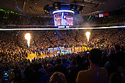 Golden State Warriors are announced during pregame activities against the Oklahoma City Thunder at Oracle Arena in Oakland, Calif., on November 3, 2016. (Stan Olszewski/Special to S.F. Examiner)
