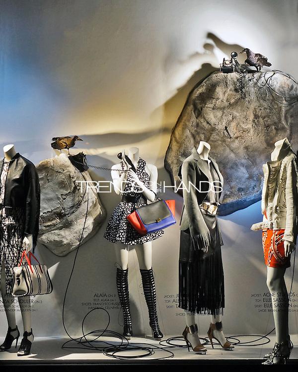 Left to right:<br /> 1. Total Look Proenza Schouler.<br /> 2. Dress Alaia, Bag Céline, Shoes Francesco Russo.<br /> 3. Jacket J Watanabe, Top Alexander Wang, Skirt Tamara Mellon.<br /> 4. Jacket Acne, Top and Skirt Elle Sasson.