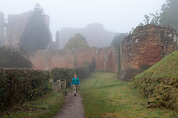 © Licensed to London News Pictures. 21/10/2012. KENILWORTH, UK. A dog walker is seen in mist as they take a morning autumn walk at Kenilworth Castle in Warwickshire today. Photo credit: Matt Cetti-Roberts/LNP