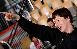 Sergeja Stefanisin of Krim celebrates after the handball match of Round 2 of Champions League between RK Krim Mercator and Aalborg DH, on October 31, 2009, in Arena Kodeljevo, Ljubljana, Slovenia.  Krim won 30:23. (Photo by Vid Ponikvar / Sportida)