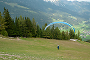 tandem Paragliding from the summit of Elfer Mountain, Neustift, Tyrol, Austria