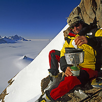 Filchner Mountains, Antarctica.Alex Lowe bivouacs near the summit of Troll's Castle.