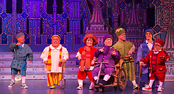 "© Licensed to London News Pictures. 06/12/2012. London, England. 7 Dwarfs with Warwick Davis at far right. Priscilla Presley makes her pantomime debut in ""Snow White and the Seven Dwarfs"" at the New Wimbledon Theatre, Wimbledon, from 7 December 2012 to 13 January 2013. Warwick Davis and Jarred Christmas star alongside her. Photo credit: Bettina Strenske/LNP"