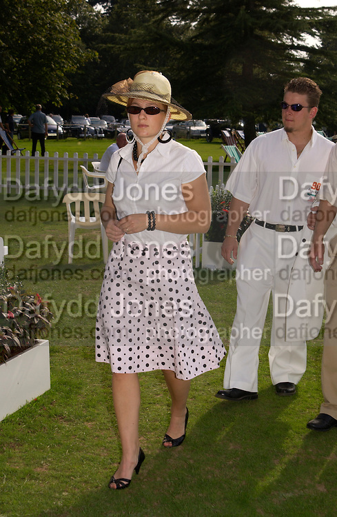 Jonna Ollikainen, The Duke of Richmond and Gordon's X1 V The Earl of March and Kinrara's X1. Cricket match before the Goodwood Revival meeting, 2 September 2004. SUPPLIED FOR ONE-TIME USE ONLY-DO NOT ARCHIVE. © Copyright Photograph by Dafydd Jones 66 Stockwell Park Rd. London SW9 0DA Tel 020 7733 0108 www.dafjones.com