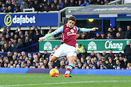 Ashley Westwood of Aston Villa tries a shot at goal. Barclays Premier League match, Everton v Aston Villa at Goodison Park in Liverpool on Saturday 21st November 2015.<br /> pic by Chris Stading, Andrew Orchard sports photography.