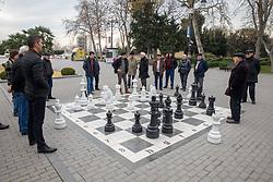 Playing Chess In Baku Boulevard Promenade  Along The Caspian Sea