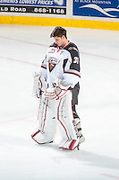 KELOWNA, CANADA - NOVEMBER 21: Ryan Kubic #31 of Vancouver Giants stands on the ice during the national anthem against the Kelowna Rockets on November 21, 2015 at Prospera Place in Kelowna, British Columbia, Canada.  (Photo by Marissa Baecker/Shoot the Breeze)  *** Local Caption *** Ryan Kubic;