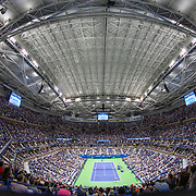 2019 US Open Tennis Tournament- Day Twelve. A panoramic view of Rafael Nadal of Spain in action against Matteo Berrettini of Italy in the Men's Singles Semi-Finals match on Arthur Ashe Stadium with the roof closed during the 2019 US Open Tennis Tournament at the USTA Billie Jean King National Tennis Center on September 6th, 2019 in Flushing, Queens, New York City.  (Photo by Tim Clayton/Corbis via Getty Images)