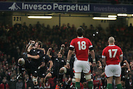 Ali Williams (l) and the Allblacks perform the haka. Invesco Perpetual series 2008 autumn international match, Wales v New Zealand at the Millennium Stadium on Sat 22nd Nov 2008. pic by Andrew Orchard, Andrew Orchard sports photography,