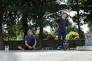 British freestyle snowboarder Billy Morgan with snowboarding coach Jack Shackleton at Saughton Skatepark on 27th June 2017 in Edinburgh, United Kingdom.