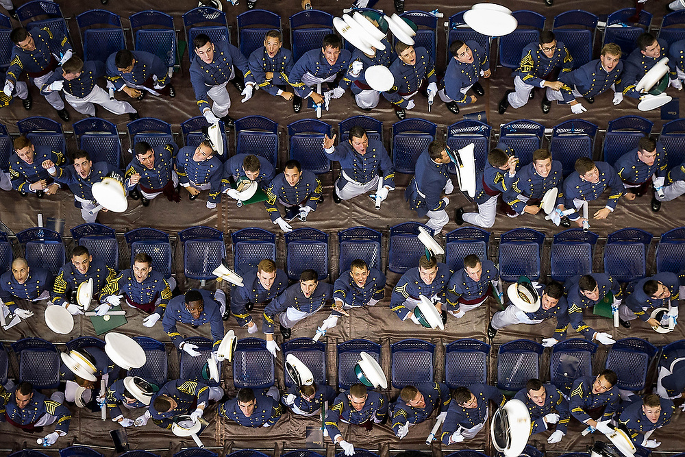 Graduates toss their caps into the air after being dismissed during The South Carolina Corps of Cadets Graduation at The Citadel in Charleston, S.C., on Saturday, May 7, 2016. <br /> Zach Bland/The Citadel