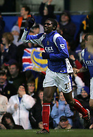 Photo: Lee Earle.<br /> Portsmouth v Wigan Athletic. The FA Cup. 06/01/2007.Portsmouth's Kanu celebrates after scoring their winning goal.
