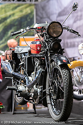 A 1934 Moser (brand) 6-Days (model) Motorcycle in a display dedicated to a past golden age of Swiss manufactured motorcycles at the Swiss-Moto Customizing and Tuning Show. Zurich, Switzerland. Saturday, February 23, 2019. Photography ©2019 Michael Lichter.