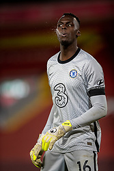 LIVERPOOL, ENGLAND - Thursday, March 4, 2021: Chelsea's goalkeeper Edouard Mendy spits during the FA Premier League match between Liverpool FC and Chelsea FC at Anfield. Chelsea won 1-0 condemning Liverpool to their fifth consecutive home defeat for the first time in the club's history. (Pic by David Rawcliffe/Propaganda)