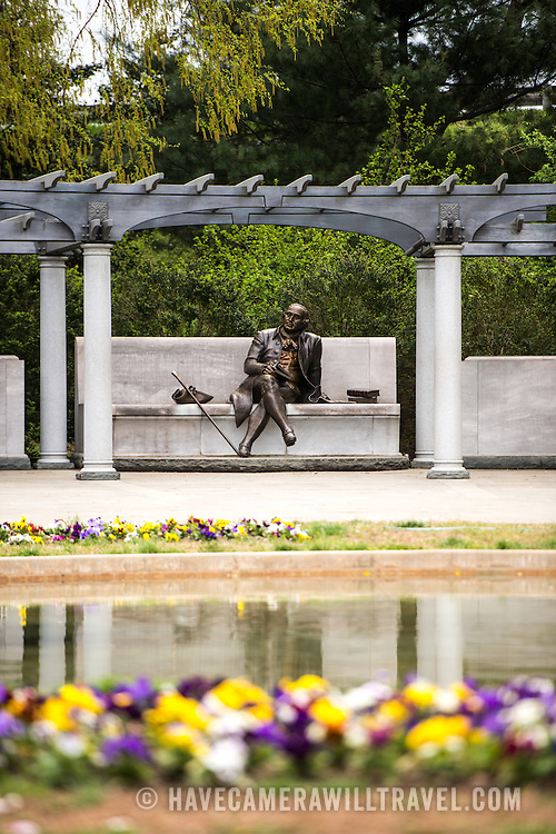 The statue of George Mason at the George Mason Memorial in Washington DC in Potomac Park near the Jefferson Memorial. The memorial honors one of the lesser known Founding Fathers.