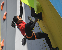 HUAI'AN, Oct. 10, 2018  Indonesia's Raji ah Sallsabillah competes during the women's lead semifinal at ''The Belt and Road'' International Climbing Master Tournament 2018 in Huai'an City, east China's Jiangsu Province, Oct. 10, 2018. (Credit Image: © Xinhua via ZUMA Wire)
