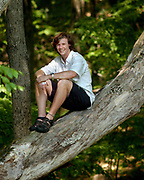 GU6/9/05 Sean Hickey<br /> ML0196G<br /> Sean Hickey in his Guilford backyard has won a scholarship to hike in Alaska. Photo by Mara Lavitt