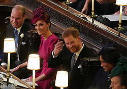 The Duke and Duchess of Cambridge with the Duke and Duchess of Sussex at the wedding of Princess Eugenie to Jack Brooksbank at St George's Chapel in Windsor Castle.