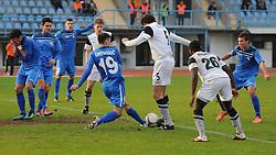 Miha Gregoric #19 of Gorica vs. Fabijan Cipot #5 of Mura 05  during football match between ND Gorica and ND Mura 05 in 20th Round of PrvaLiga NZS 2012/13 on November 24, 2012 in Nova Gorica, Slovenia. (Photo By Ales Cipot / Sportida)