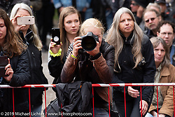 Photographers shoot the awards ceremony during the Twin Club's annual Motorcycle Show in Norrtälje, Sweden. Saturday, June 1, 2019. Photography ©2019 Michael Lichter.