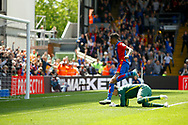 Crystal Palace midfielder Patrick Van Aanholt scores a goal (score 4-0) during the Premier League match between Crystal Palace and Hull City at Selhurst Park, London, England on 14 May 2017. Photo by Andy Walter.