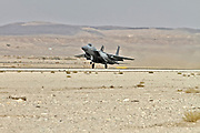 """Israeli Air Force (IAF) McDonnell Douglas F-15A at take off.  Photographed at the  """"Blue-Flag"""" 2017, an international aerial training exercise hosted by the Israeli Air Force (IAF) at Ouvda airfield, Israel. November 2017"""
