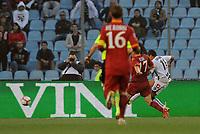 "Gol 1-0 di Alexi Sanchez Udinese<br /> Udine, 21/04/2010 Stadio ""Friuli""<br /> Udinese-Roma.<br /> Coppa Italia 2009/2010<br /> Foto Nicolo' Zangirolami Insidefoto"