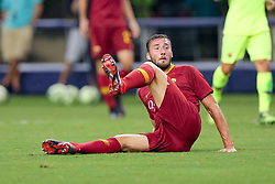 July 31, 2018 - Arlington, TX, U.S. - ARLINGTON, TX - JULY 31: AS Roma midfielder Bryan Cristante (4) watches his shot on goal during the International Champions Cup between FC Barcelona and AS Roma on July 31, 2018 at AT&T Stadium in Arlington, TX.  (Photo by Andrew Dieb/Icon Sportswire) (Credit Image: © Andrew Dieb/Icon SMI via ZUMA Press)