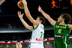 Goran Dragic of Slovenia vs Simas Jasaitis of Lithuania during friendly match before Eurobasket Lithuania 2011 between National teams of Slovenia and Lithuania, on August 24, 2011, in Arena Stozice, Ljubljana, Slovenia. Slovenia defeated Lithuania 88-66. (Photo by Vid Ponikvar / Sportida)