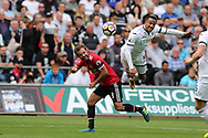 Martin Olsson of Swansea city ® is challenged by Juan Mata of Manchester Utd (l). Premier league match, Swansea city v Manchester Utd at the Liberty Stadium in Swansea, South Wales on Saturday 19th August 2017.<br /> pic by  Andrew Orchard, Andrew Orchard sports photography.